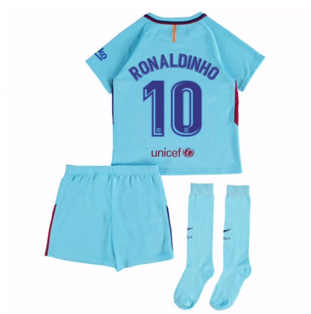 2017-2018 Barcelona Away Mini Kit (Ronaldinho 10) B077PRX4LBBlue MB 5-6yrs (110-116cm)