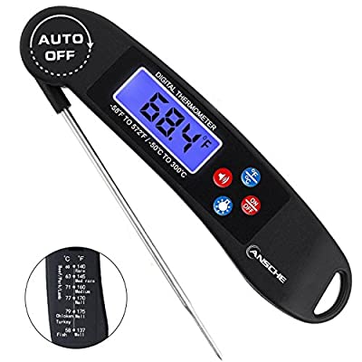ANSCHE Instant Read Cooking Food Thermometer-Backlight, Talking, Auto off, Collapsible Probe, Fast Digital BBQ Thermometer Kitchen Gadget for Grill Smoker Candy, Meat Temperature Guide on the Back