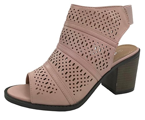 Mid Heel Bootie - Women's Audrey Sandal Bootie with Cut Out Faux Leather Mid Heel, Blush PUBLS, 6