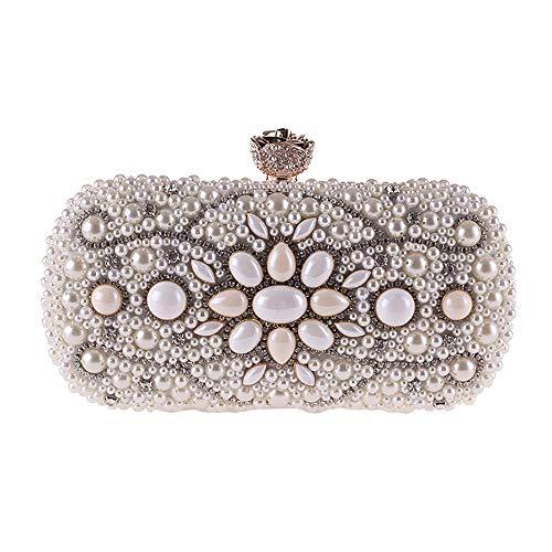 Ofgcfbvxd Borsa da sposa da sposa con borsa da sera per cena con frizione a mano in catena a forma di perline