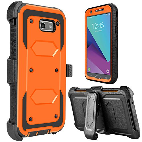Galaxy J7 2017 Case, Galaxy Halo Case, J7 Sky Pro Case, lovpec [Holster Series] Shockproof Protective Case with Kickstand and Belt Swivel Clip for Samsung Galaxy J7 V 2017 (Orange)]()