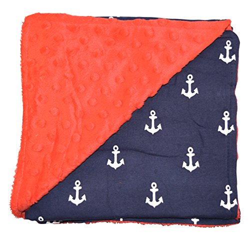 Unique Baby Soft Textured Minky Dot Blanket, Anchor Red