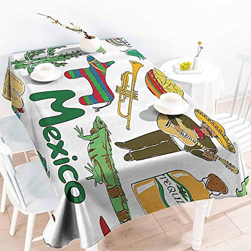 Homrkey Easy Care Tablecloth Mexican Decorations Collection Fun Colorful Sketch Mexico Chili Pyramid Nachos Cactus Music Poncho Image Green Olive Mustard Excellent Durability W52 xL72