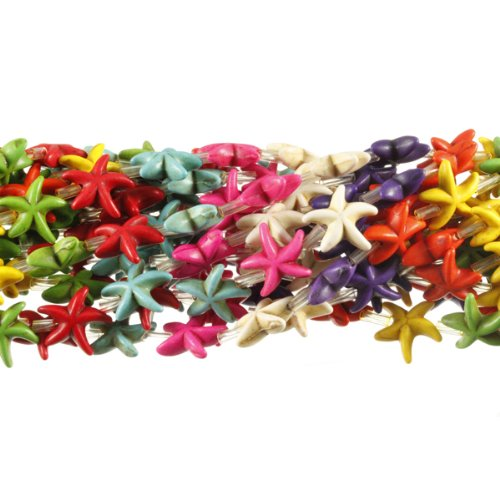 Chalk Turquoise Beads (14mm Starfish Chalk Turquoise Dyed Mix Gemstone Beads Approx 30