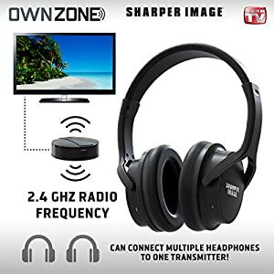 Sharper Image OWN Zone Wireless Rechargeable TV Headphones- RF Connection, 2.4 GHz, Transmits Wirelessly up to 100ft, No Bluetooth Required, AUX, RCA, Optical Cable Included (Black)