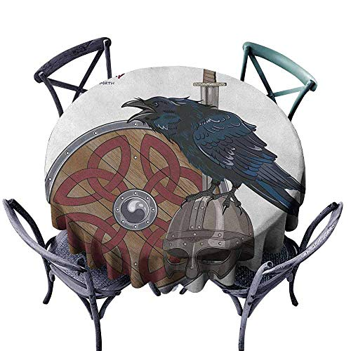 ScottDecor Patio Round Tablecloth Dinning Tabletop Decoration Viking,Raven on Steel Helmet Nordic Sword Shield Warfare Scandinavian Army Medieval Armour,Black White Diameter 60