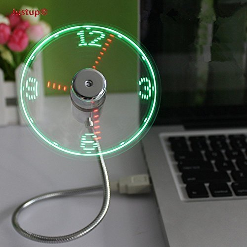 JUSTUP USB LED Clock Fan, Mobile USB-Powered Portable Fan, Portable Cooling Solution, Quiet Mini USB Gooseneck Fan for laptop and (Cool Accessories)
