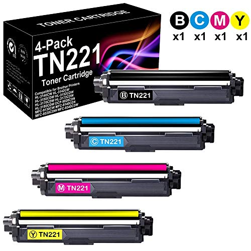 4-Pack Compatible High Yield HL-3152CDW Printer Toner Cartridge (B+C+M+Y) Replacement for Brother TN221 TN-221 Toner Cartridge, Sold by BUADCK ()