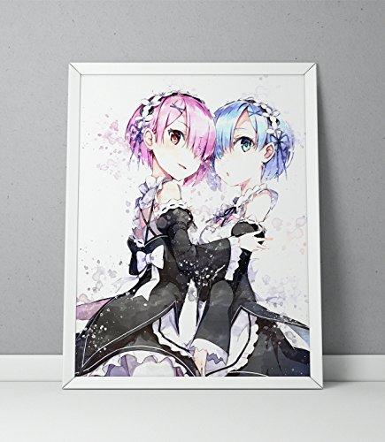ReZero print, ReZero poster, Re:Zero Kara Hajimeru Isekai Seikatsu print, Ram and Rem Anime poster, Anime print Watercolor N.001 (8 x 10 inch)
