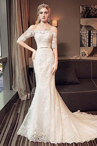 La nueva palabra hombro vestido de novia novia Casado coreano delgado manga larga Fishtail boda pequeña