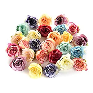 Artificial Flowers Rose Silk Flowers Artificial Flower Heads Fake Flower Home Decor Wedding Silk Flower Favors DIY Decoration 30PCS 4CM (Multicolor) 14