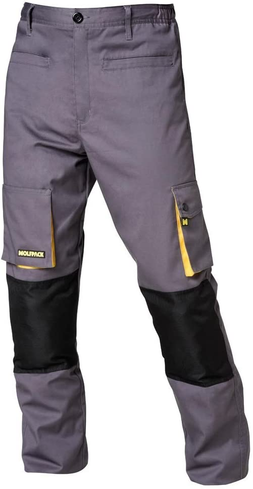 Wolfpack 15017110 Pantalon de Trabajo Gris/Amarillo Largo Talla 54/56 XXL