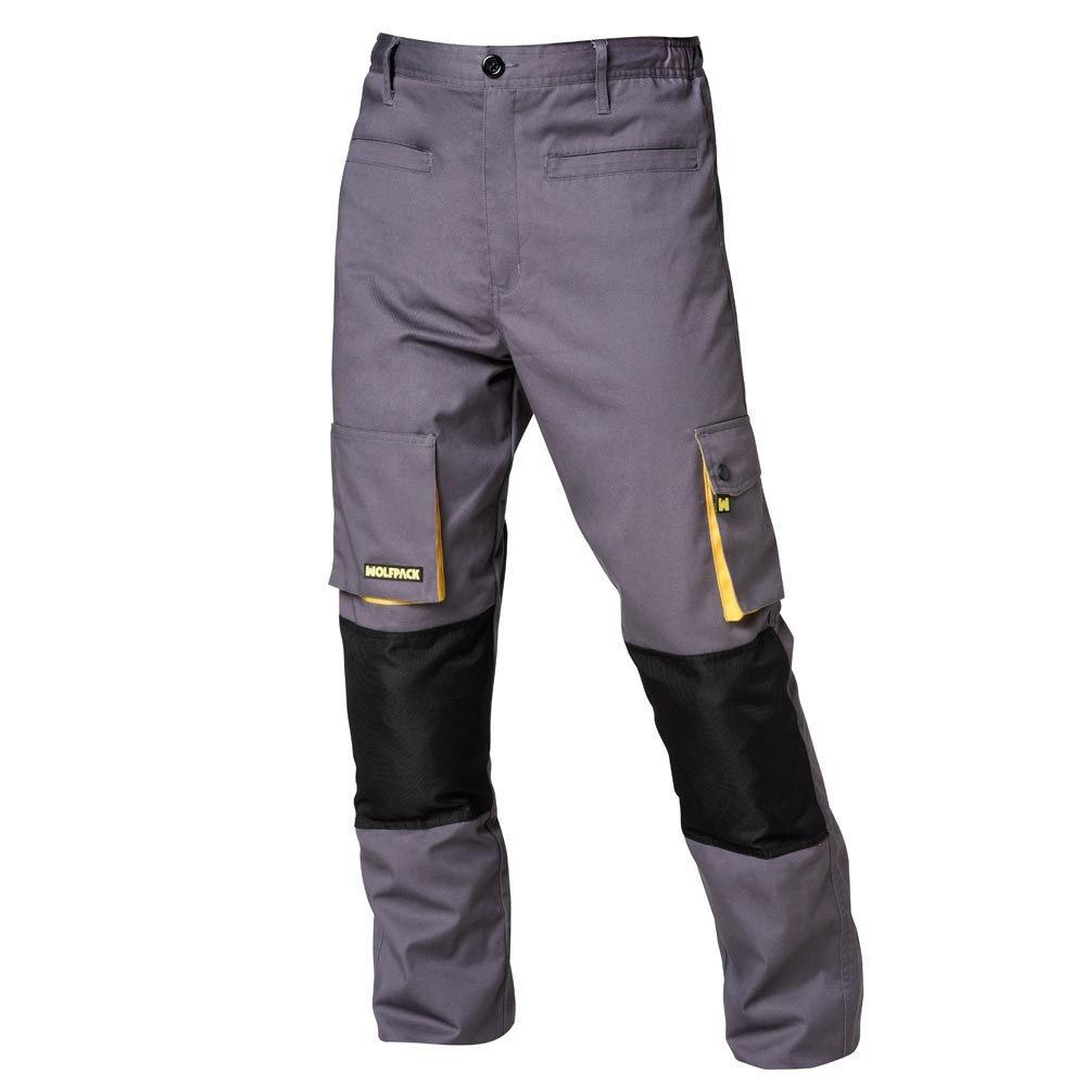 Wolfpack 15017090 Pantalon de Trabajo Gris/Amarillo Largo Talla 42/44 M
