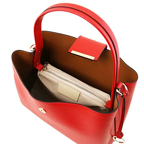Tuscany Leather Clio - Borsa secchiello in pelle Saffiano - TL141690 (Giallo) Rosso Lipstick