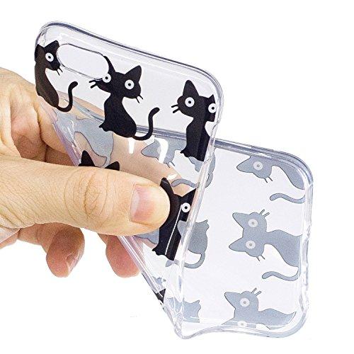 iPhone 6 Plus / 6S Plus Coque,Chats noirs Premium Gel TPU Souple Silicone Transparent Clair Bumper Protection Housse Arrière Étui Pour Apple iPhone 6 Plus / 6S Plus + Deux cadeau