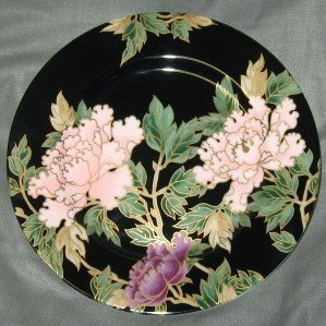 (Fitz & Floyd Cloisonne Peony-Black Salad Accent Plate)