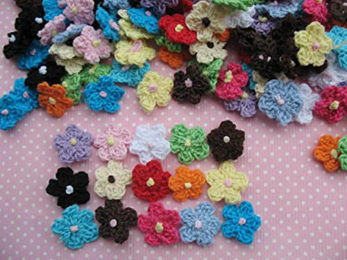- YYCRAFT Pack Of 100 Crochet Small Daisy Fabric Satin Craft Sewing Appliques DIY Diameter 16mm Flower Mixed Assorted color