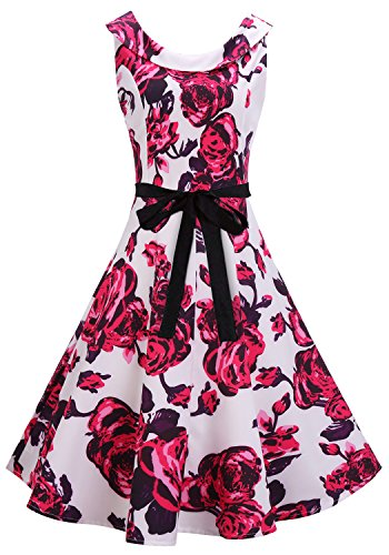Empire Floral Cocktail (FISOUL Women Vintage Sleeveless Dress Summer Party Floral Cocktail Swing Tea Dress With Belt Rose Red S)
