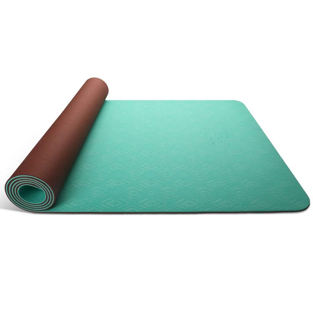 ヨガマット ヨガマットtpeヨガマット滑り止め肥厚ロングビギナー女性フィットネスヨガマットスリーピース JSSFQK (色 : 紫の, サイズ さいず : 8mm) B07RGV2NS4 6mm|緑 緑 6mm