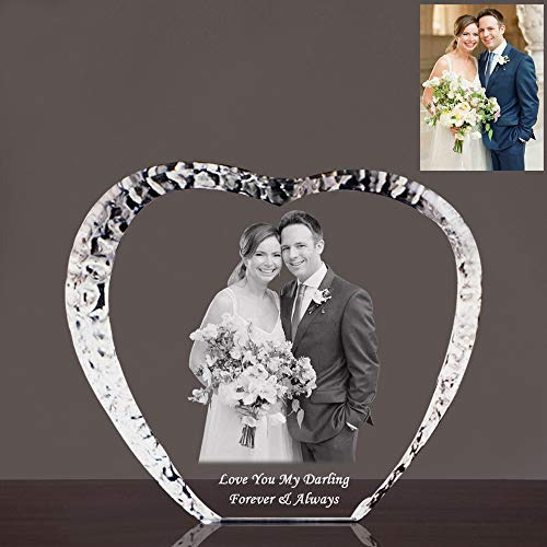 Qianruna Custom Personalized 2D/3D Laser Engraving Etched Photo Crystal Glass Picture Heart Iceberg for Birthday,Anniversary,Valentine's Gifts (Medium) ()