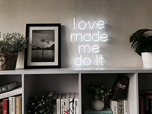 Love Me Made Me Do It Real Glass Neon Sign For Bedroom Garage Bar Man Cave Room Home Decor Handmade Artwork Visual Art Dimmable Wall Lighting Includes Dimmer