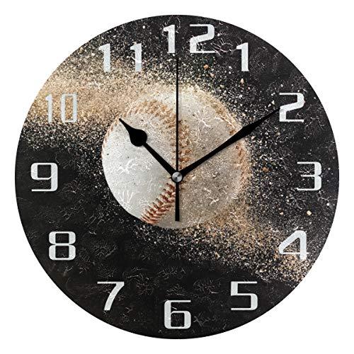 - KUWT Sport Baseball Wall Clock Silent Non-Ticking 9.5 Inch Round Clock Acrylic Art Painting Home Office School Decor