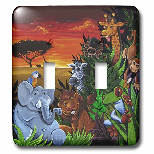 3dRose lsp_53076_2 Jungle Scene with An Elephant Parot Tree Frog Zebra and Giraffe Double Toggle (Desk Plates Frogs)
