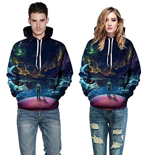 Lucao 3D Digital Printing Couple Hooded Long-Sleeved Loose Sweater Sweatshirt L02-3XL