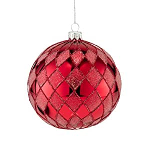 Department 56 The Signature Collection of Christmas Décor Red Diamond Glitter Polish Glass Ornament