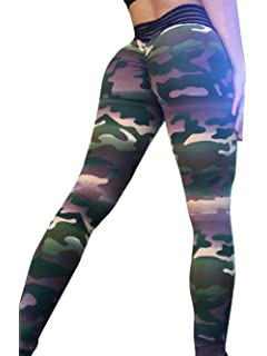 535871b436d616 Womens Ruched Butt Lifting Leggings Floral High Waisted Workout Sport Tummy  Control Gym Yoga Pants Army