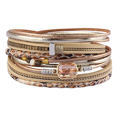 Bfiyi Leather Wrap Bracelet Casual Crystal Cuff Bracelet Multilayer Braided Bracelets Bohemian Jewelry Handmade Gifts for Women, Teens Girls, Sister, Wife, Mother ()