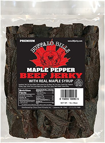 Buffalo Bills 16oz Premium Maple Pepper Beef Jerky Pieces (one pound bag in random size - Jerky 1 Lb Bag