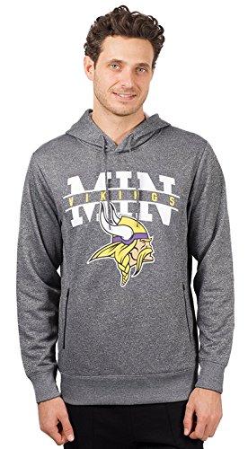 Icer Brands NFL Minnesota Vikings Men's Fleece Hoodie Pullover Sweatshirt Zipper Pocket, X-Large, Gray