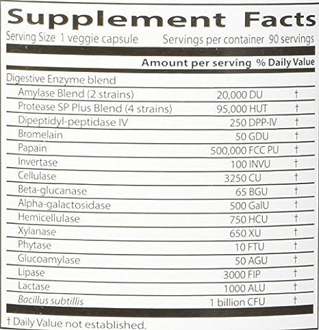 Las mejores enzimas digestivas, todos vegetarianos, 90 Caps ...