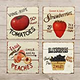 Cheap Barnyard Designs Fruit Tin Sign Bundle – Strawberries, Blueberries, Peaches & Apples