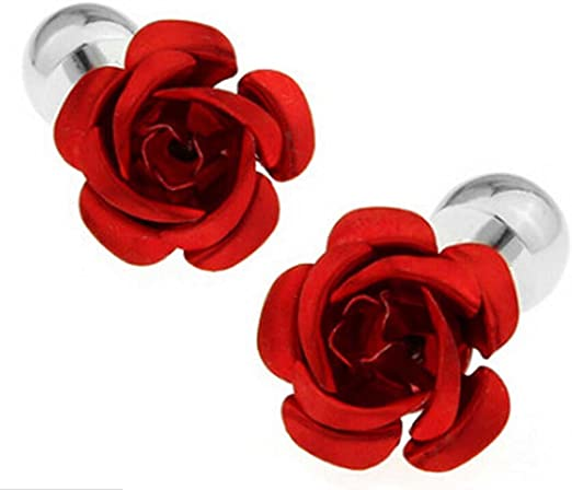 Kentop - Gemelos para hombre y mujer, elegantes, color rojo, forma de rosa, gemelos para camisa, traje, boda, regalo: Amazon.es: Hogar