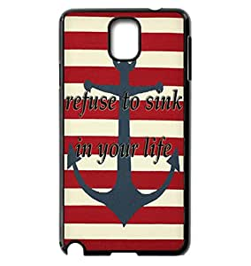 Popular Anchor Striped Phone Case Refuse To Sink In My life Quote Phone Case For Galaxy Note 3