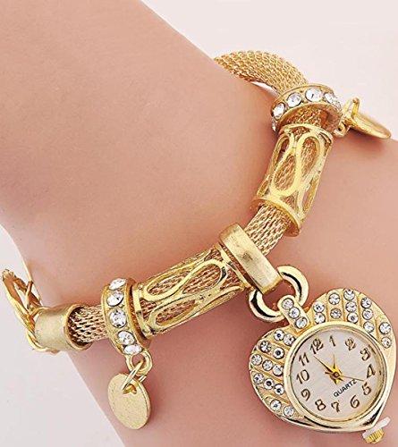 Novadab Enter My Heart Silver Charm Bracelet Watch For Women, Wrist Watch For Women (Gold) from NOVADAB