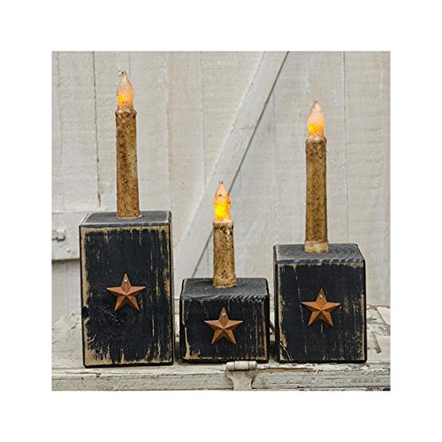Americana Candle Holder - GNR Trades Blocks with Star - Tapered Candle Holder Americana 3 pc Set (Black)