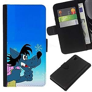 All Phone Most Case / Oferta Especial Cáscara Funda de cuero Monedero Cubierta de proteccion Caso / Wallet Case for Sony Xperia Z1 L39 // Wolf Comic Cartoon Russian Character Funny