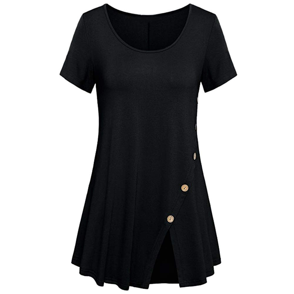 Women's Casual Short and Long Sleeve Solid Criss Cross Front V-Neck T-Shirt Tops Black