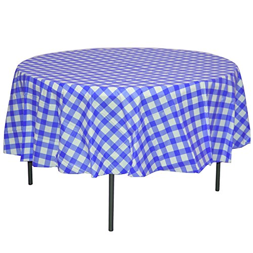 Exquisite 12 Pack Premium Round Plastic Dark Blue & White Checkered BBQ Tablecloth - Gingham Checkerboard Disposable Plastic Tablecloth 84 inch. Round ()