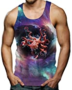 RAISEVERN Mens Funny Tank Tops 3D Print Cool Graphic Sleeveless T-shirt