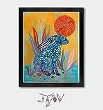 Solar. Rabbit Print, Rabbit, Bunny, Rabbit Print Art, Bunny Rabbit, Arizona, Phoenix, Tucson, Southwestern Art, Mexican, Mexican Folk Art