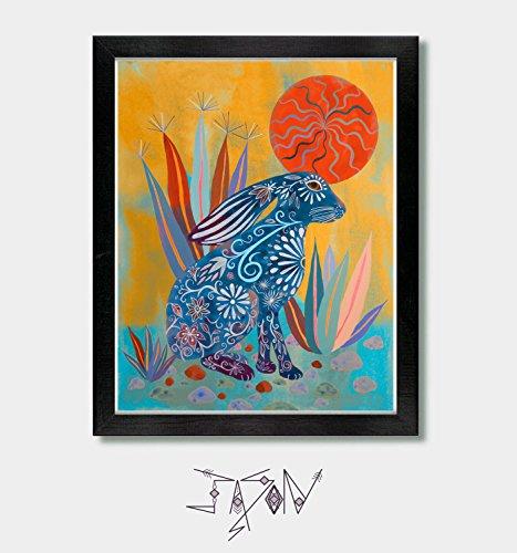 Solar Bunny (Solar. Rabbit Print, Rabbit, Bunny, Rabbit Print Art, Bunny Rabbit, Arizona, Phoenix, Tucson, Southwestern Art, Mexican, Mexican Folk Art)