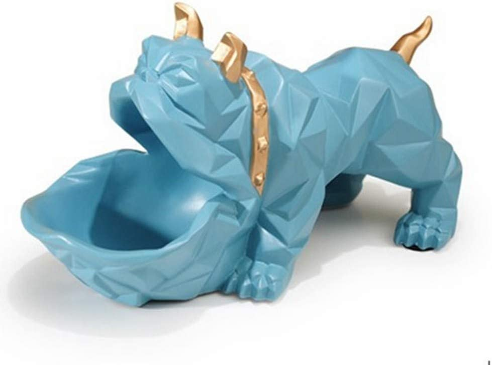 Statues Sculpture Figurines Statuettes,Blue French Bulldog Candy Tray Food Storage Box Design Animal Figurines Art Creative Modern Crafts for Living Room Tv Cabinet Porch Statues Artwork Ornaments De