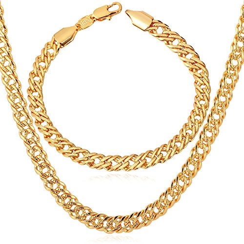 Length 18-32 18K Gold Plated Flat//Square//Round Rolo Chain Necklace Bracelet Set U7 2mm//3mm//6mm//7mm Box Chain Stainless Steel