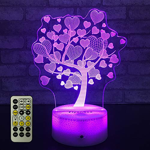 FlyonSea Love Lamp Tree of Life Night Light Kids 7 Colors Change Remote Control with Timer Optical Illusion Kids Lamp As a Gift Ideas for Boys or Girls (Kabbalah)