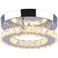 Goeco Lámpara de Techo LED, Plafón Cristal Lámpara de techo Moderna Integrada 18W…