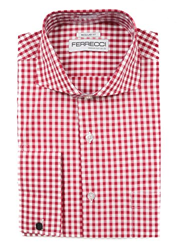 Ferrecci 3XL 19 36-37 Gingham Red reg. Fit Dress Shirt ()